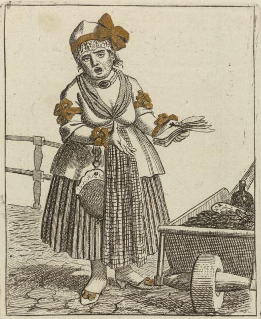 Spotprent van Oranjeklant Kaat Mossel met linten in het haar en aan haar rok.