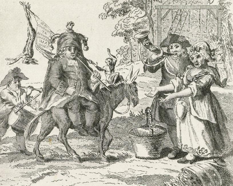 Spotprent van Kaat Mossel met andere Oranjeklanten en prinsgezinden.
