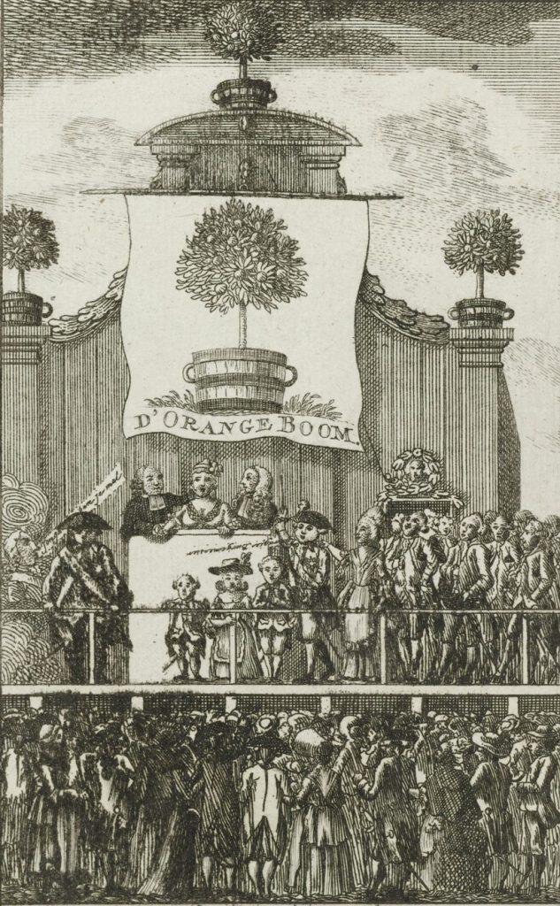 Spotprent van Kaat Mossel met andere orangisten en het gezin van stadhouder Willem V