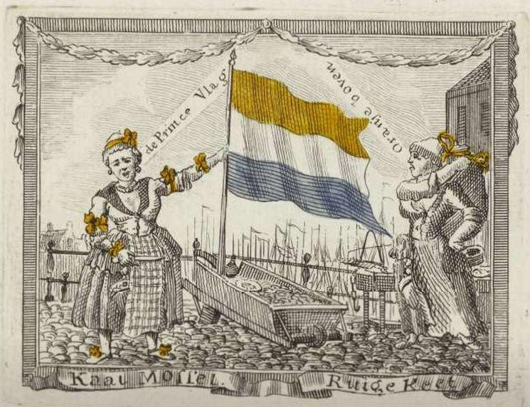 Spotprent met Kaat Mossel en Ruige Keet, twee Oranjeklanten uit Rotterdam